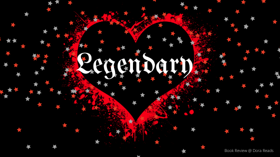 'Legendary' in a black heart outlined in dripping red, there is a smattering of stars thrown across the whole image