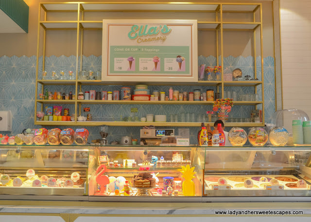 ice cream counter in Ellas Creamery at Riverland Dubai