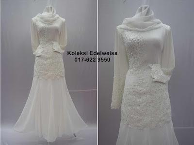 Baju Kurung Moden Nikah Lace dan Manik Putih
