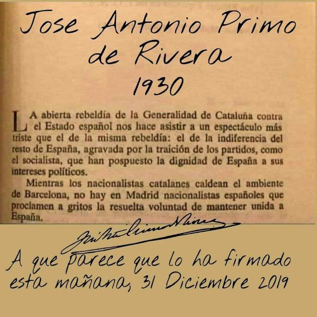José Antonio Primo de Rivera, 1930, frente popular, golpistas separatistas,