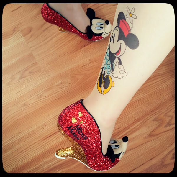 irregular choice red glitter mickey mouse shoes