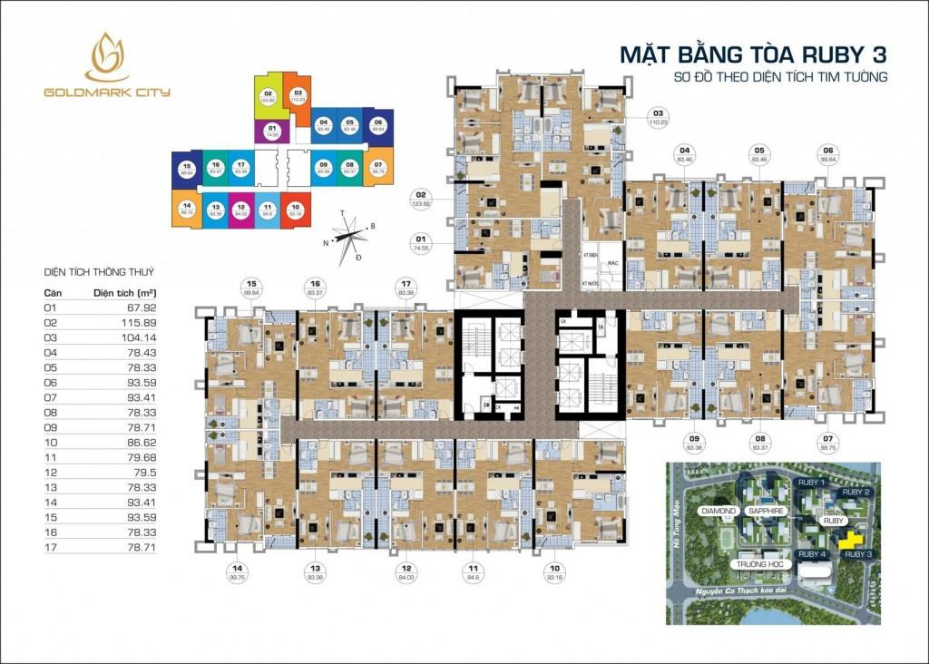 Thiết kế tổng thể tòa RUBY 3 dự án Goldmark City 136 Hồ Tùng Mậu: