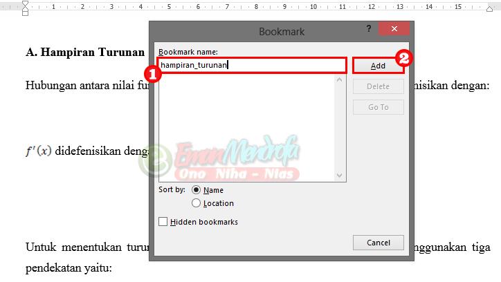 Menambah bookmark name