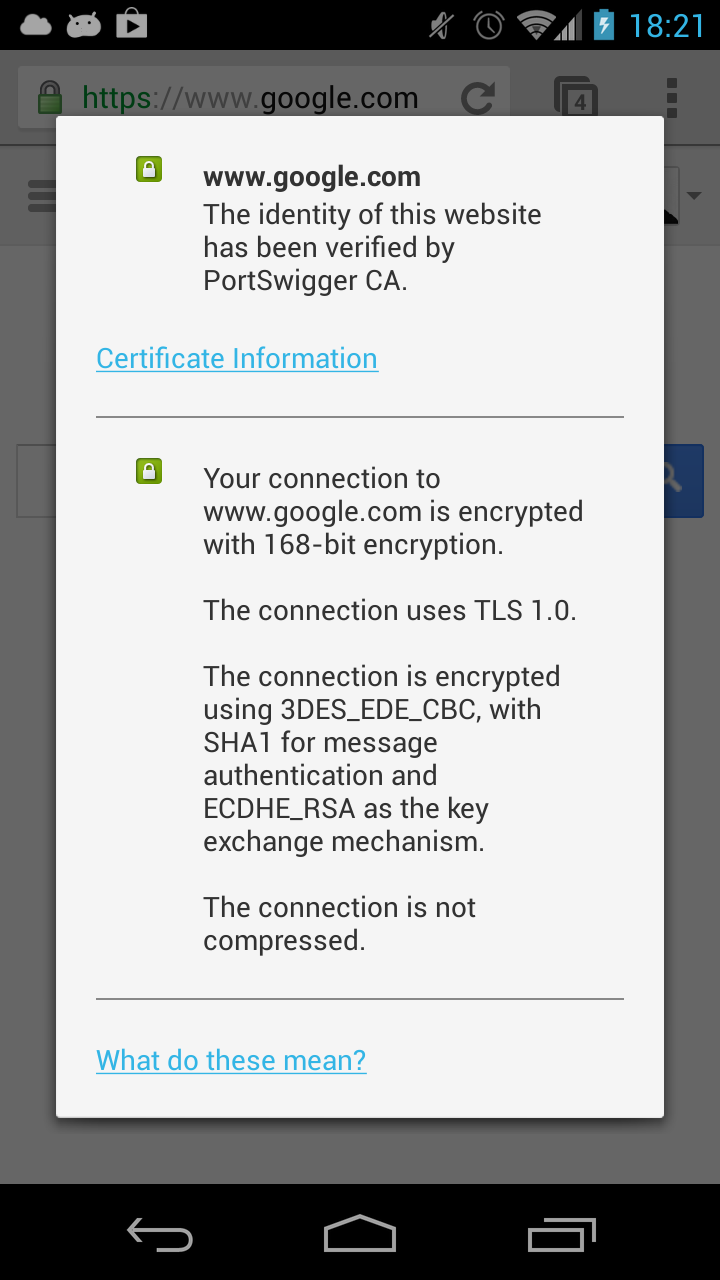 Certificate pinning in Android 4 2