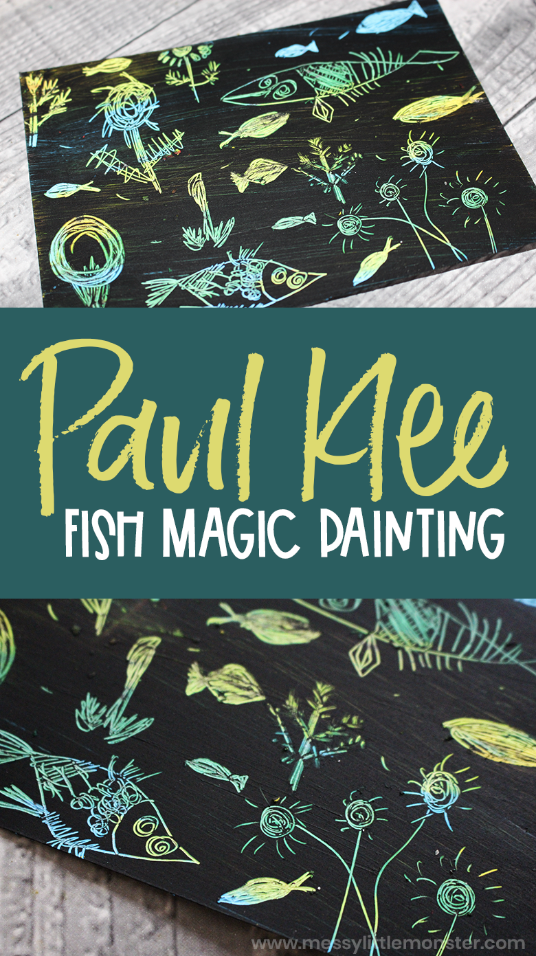 Paul Klee for kids. DIY scratch art inspired by Fish Magic by Paul Klee. Fish art for kids.