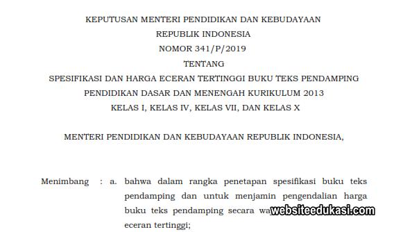 Kepmendikbud 341/P/2019, Spesifikasi dan HET Buku Kurikulum 2013 Kelas I, IV, VII, dan X