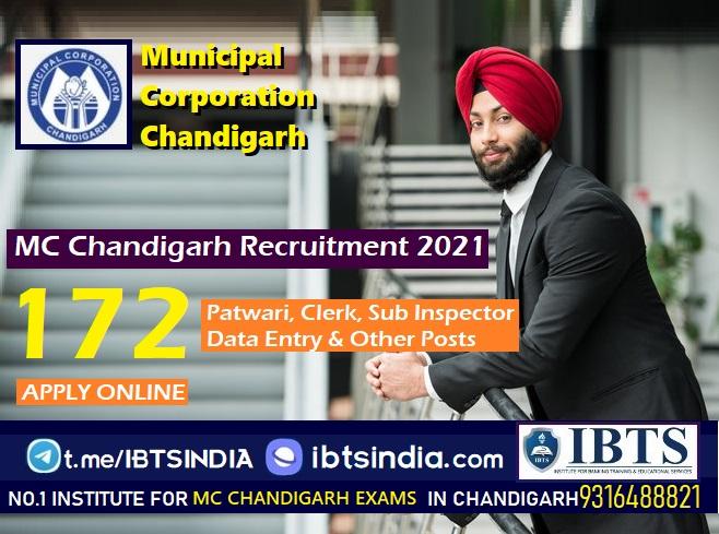 MC Chandigarh Recruitment 2021 Apply Online for 172 Patwari, Clerk, Sub Inspector, Data Entry Operator & other posts