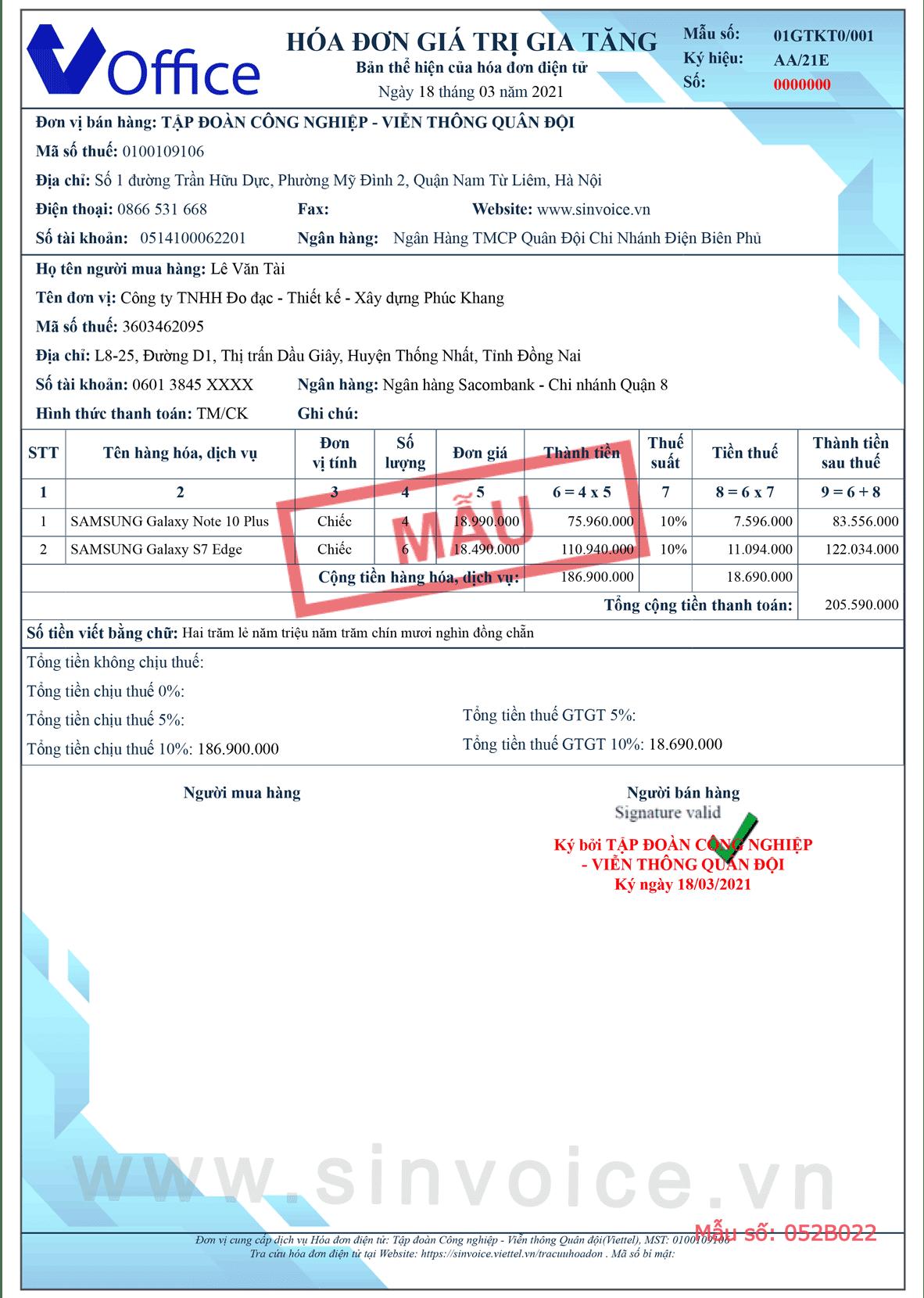 Mẫu hóa đơn điện tử số 052B022