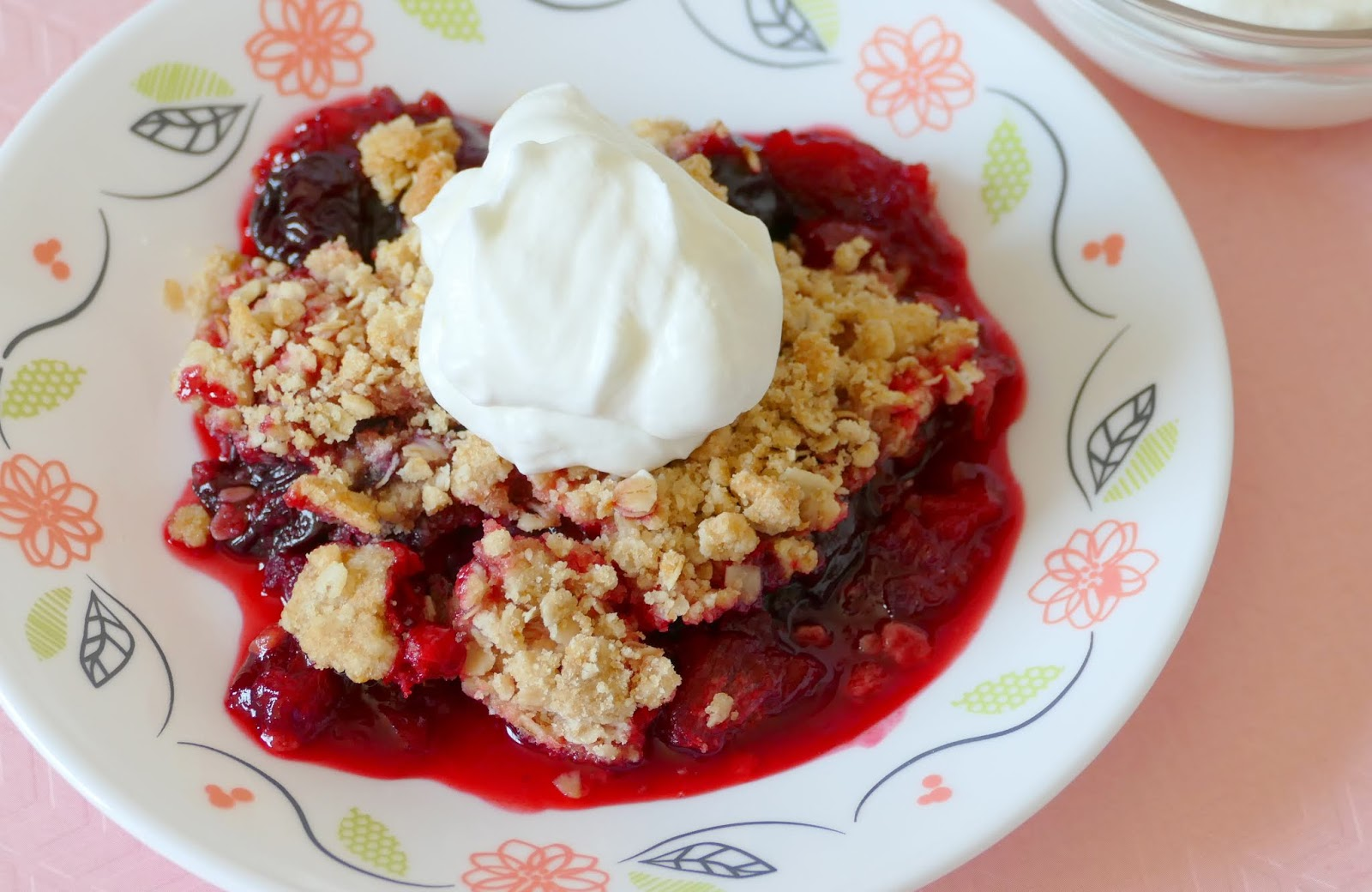 This heavenly spring and summer dessert has delicious chunks of rhubarb and whole sweet cherries to go with the oatmeal crisp topping! It's unique, easy to make and a family favorite! Top with whipped cream or ice cream for an extra treat! Try using different fruit and jello combos with the rhubarb for a new twist every time!