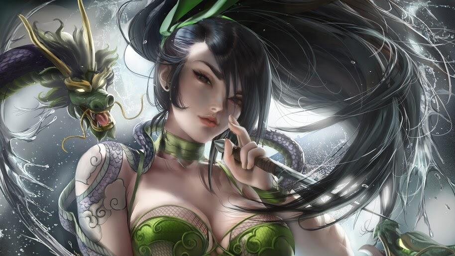 Akali Beautiful Dragon Tattoo Lol 4k Wallpaper 3 561