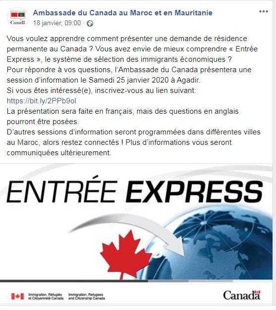 سفارة كندا في المغرب تعلن عن تنظيم دورة تدريبية للراغبين في الهجرة إلى كندا