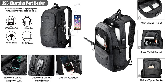 Tzowla - Water Resistant Anti-Theft Backpack