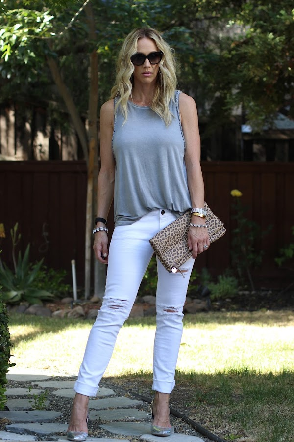 distressed white denim j brand