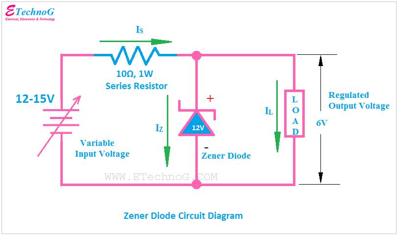 Zener Diode Circuit Diagram, circuit diagram of zener diode