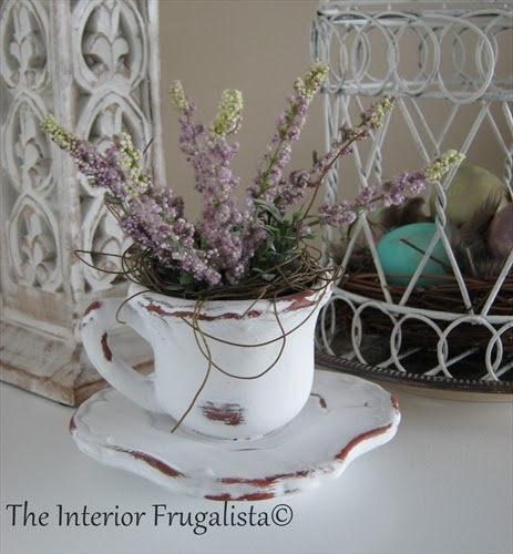 Heather in a teacup for our Spring Mantle under $10.00!