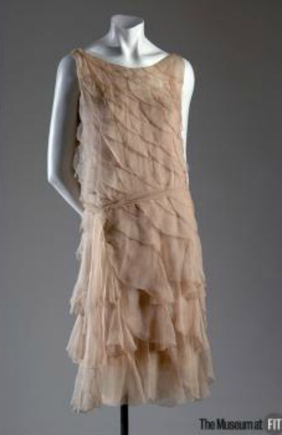 Coco Chanel Pink Crepe Chiffon Evening Gown from 1925 displayed on dress form