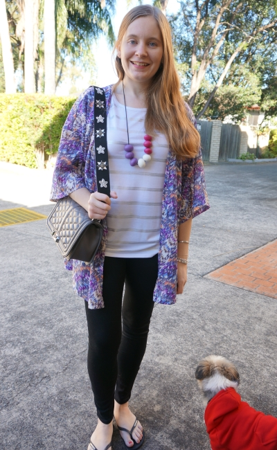 print mixing foil tee skinny jeans purple kimono outfit | away from blue