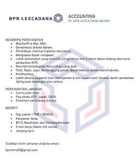 Lowongan Kerja PT. BPR Lesca Dana Batam