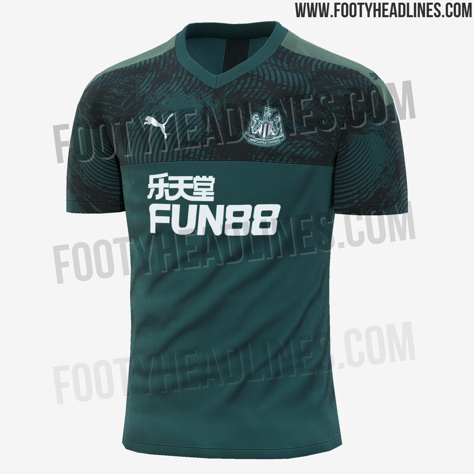90b42e62f049 Not a unique design but based on the 'Cup Jersey Core' teamwear template,  the Newcastle United 2019-2020 third jersey is dark green with black  accents and ...