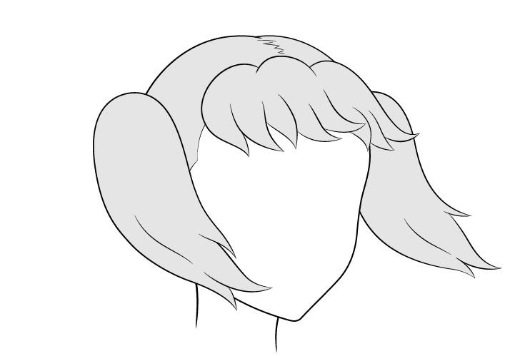 Anime kuncir rambut bertiup angin 3/4 lihat gambar