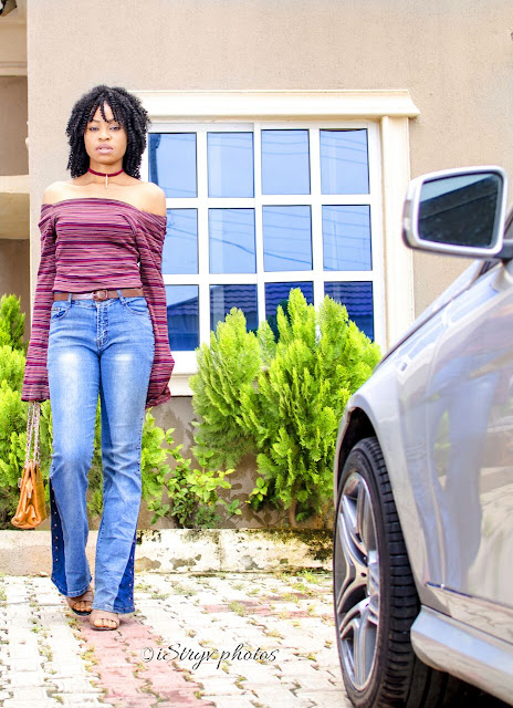 stripped-off-shoulder-bell-sleeve-top-flared-jeans-nigerian-fashion-blogger