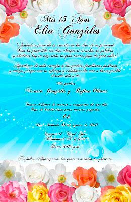 Tarjeta de Invitación para 15 años color turquesa con flores primaverales elegante y novedosa
