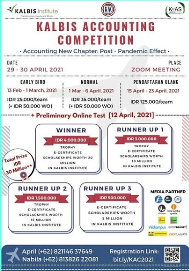 "KALBIS ACCOUNTING COMPETITION 2021 ""Accounting New Chapter: Post-Pandemic Effect Kalbis Accounting Competition 2021"""