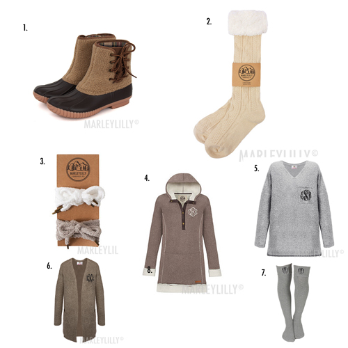 cozy monogram duck boot outfit