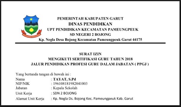 Download Format Surat Izin Mengikuti Ppg Ppgj Tahun 2019