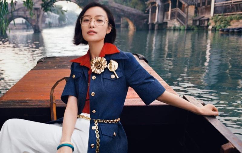 Chinese actress Ni Ni fronts Gucci Eyewear spring-summer 2021 campaign.