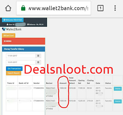 wallet2bank bank transfer proof