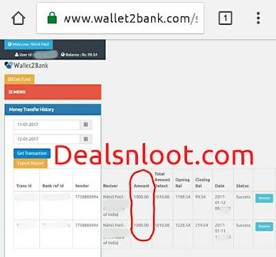 wallet2bank bank transfer proof
