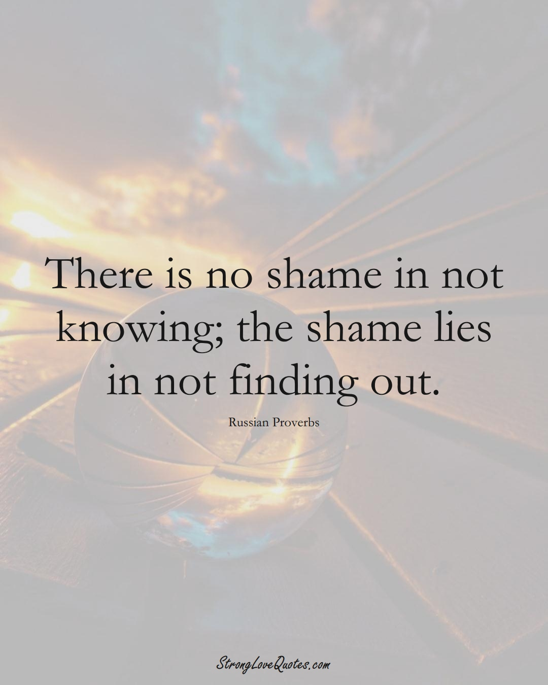 There is no shame in not knowing; the shame lies in not finding out. (Russian Sayings);  #AsianSayings
