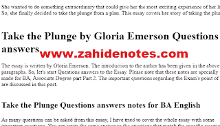 Take the plung modern essay qustions answers notes pdf for BA