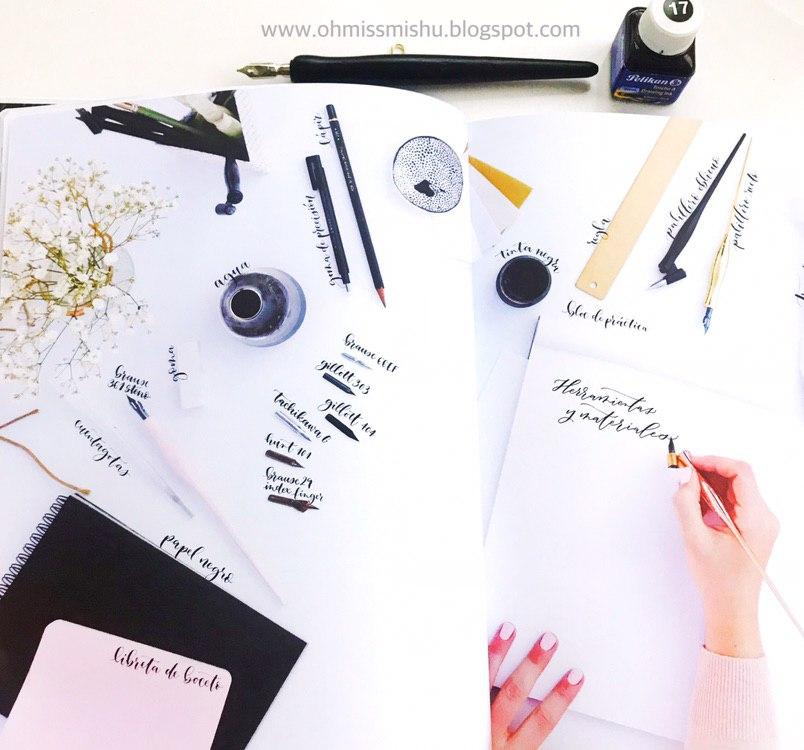 libro de caligrafía moderna con plumilla y florituras paso a paso explicación y materiales