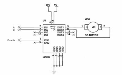 Interfacing DC Motor using L293D Circuit Schematic