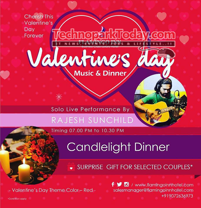 Velentines day candle light dinner flamingo Inn