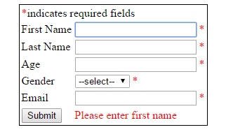 server side validation on submit click