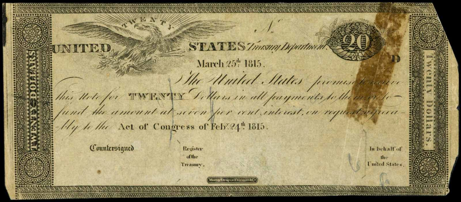 American currency 20 Dollar Treasury Note 1815