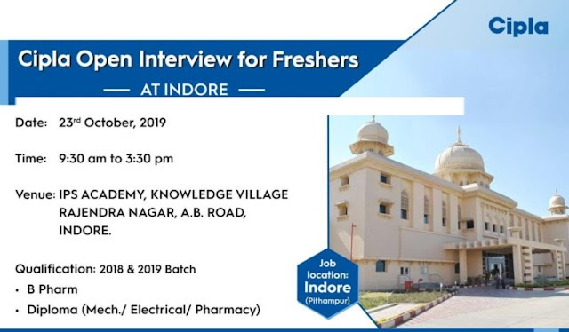 Cipla Limited - Open Interview for FRESHERS on 23rd Oct' 2019