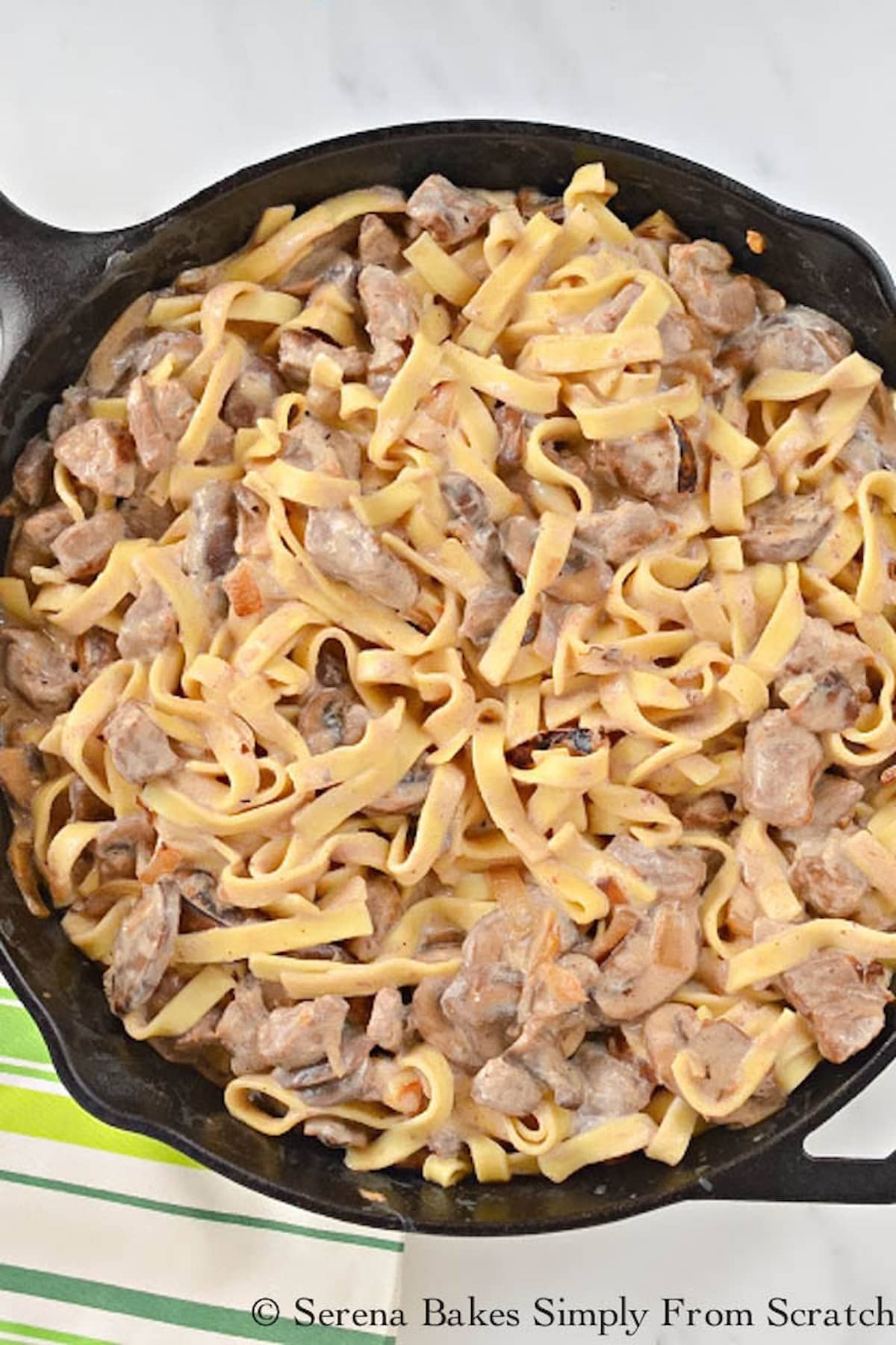 Beef Stroganoff From Scratch in a cast iron skillet.