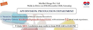 Jobs Vacancy For B.Sc/ B.Com/ Diploma/ BA/ Inter/ ITI/ SSC  Fresher Candidates Direct Walk In Drive For Company Maithri Drugs Pvt. Ltd