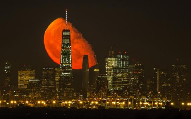 Blood Moon over New York City