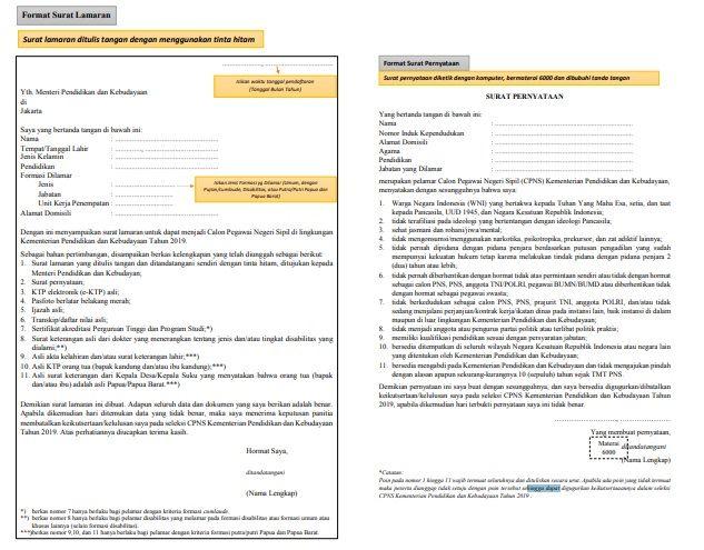 tentunya di lengkapi dengan syarat syarat yang telah disediakan Cara membuat surat Lamaran CPNS dan Contoh Surat Lamaran CPNS 2020