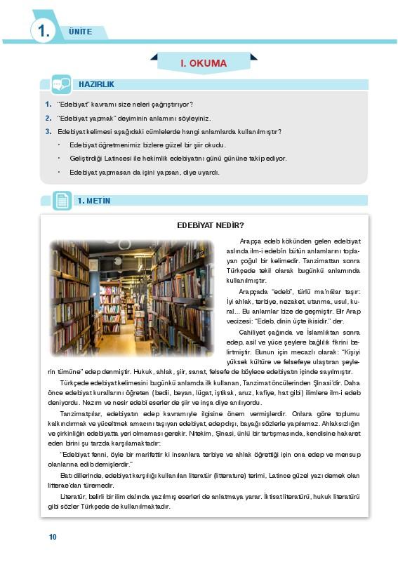 9. Sınıf Türk Dili ve Edebiyatı Ders Kitabı Cevapları Sonuç Yayınları Sayfa 10