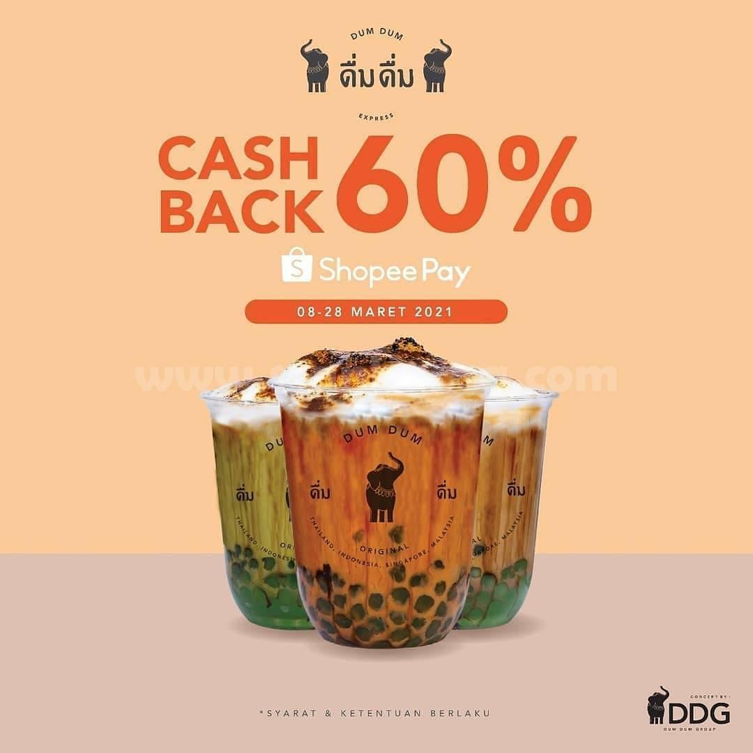 Dum Dum Thai Drinks Promo Cashback 60% pakai ShopeePay