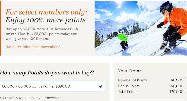 IHG Points Sale: 100% Bonus until November 3rd!