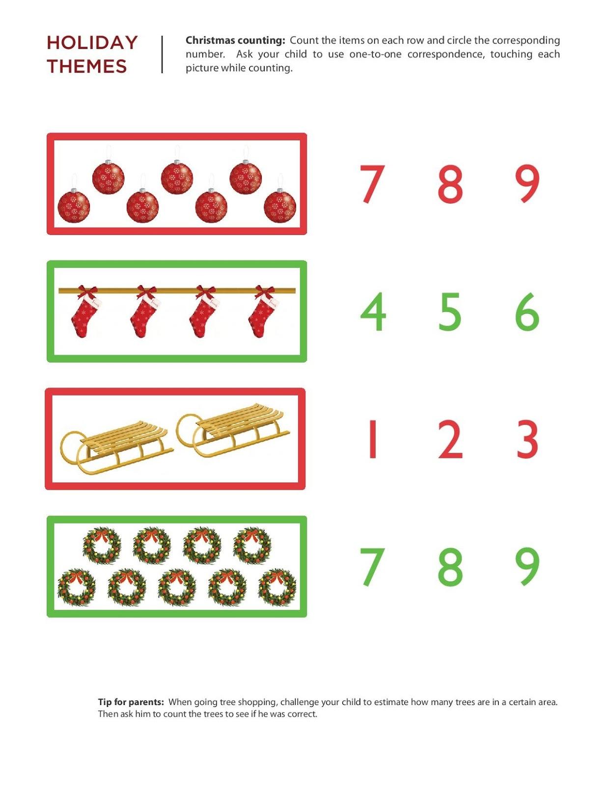 Kindergarten Worksheets: Maths Worksheets - Chritmas ...