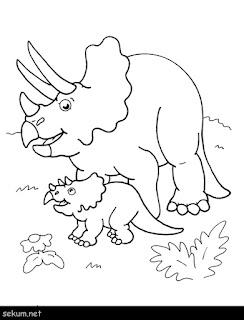 Baby Triceratops Dinosaur Coloring Sheet