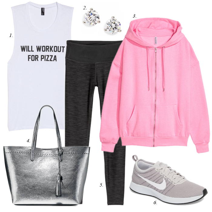 pink sweatshirt, grey leggings, will workout for pizza tee, Nike sneakers